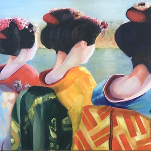 (CreativeWork) Geisha x 4 by Graeme Symons. oil-painting. Shop online at Bluethumb.