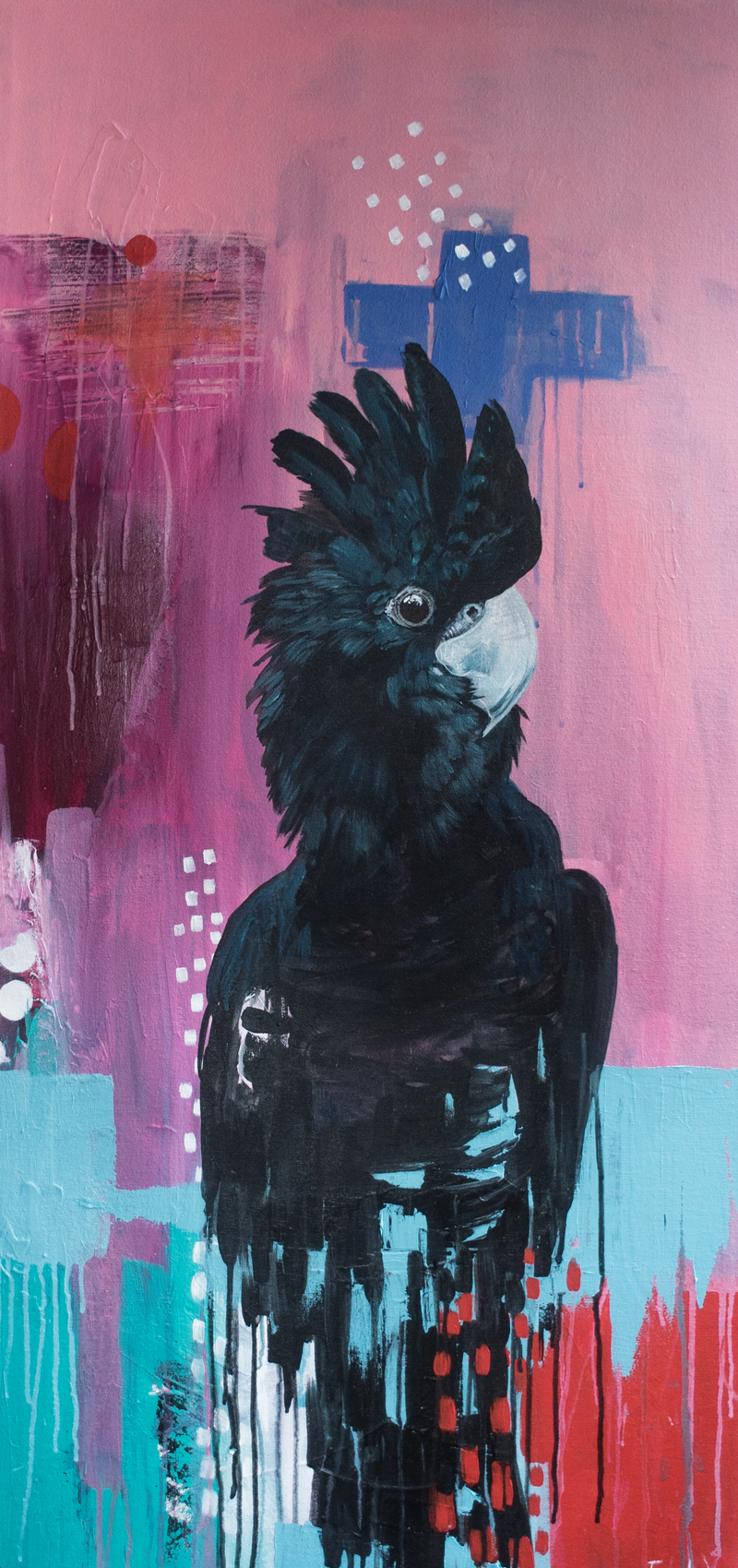 (CreativeWork) The Black Cockatoo by Emma Wreyford. arcylic-painting. Shop online at Bluethumb.