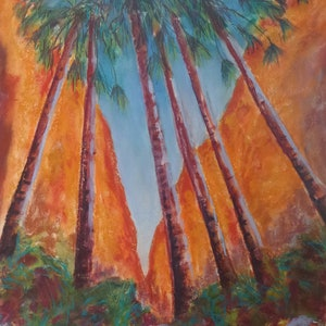 (CreativeWork) Palm Canyon, Bungle Bungles. by Jo Dansie. mixed-media. Shop online at Bluethumb.