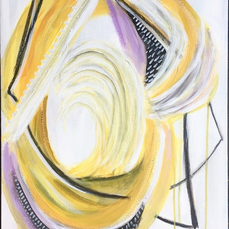 (CreativeWork) Yellow Feather by Lizzie Alsop. Acrylic Paint. Shop online at Bluethumb.