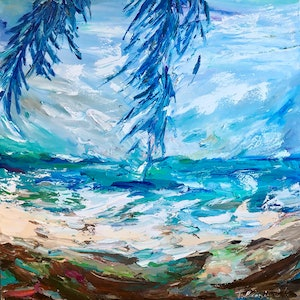 (CreativeWork) Windy day under the palms by Tatiana Georgieva. oil-painting. Shop online at Bluethumb.