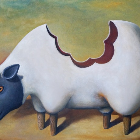 (CreativeWork) The Sheep's Back by Tank .. Oil Paint. Shop online at Bluethumb.