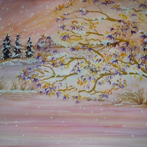 (CreativeWork) Snowy Winter in Pink by Vanessa Yi-Kai TSAI. watercolour. Shop online at Bluethumb.