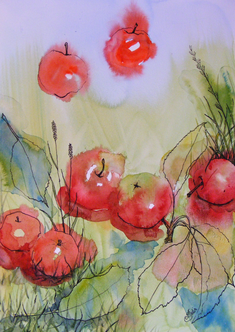 "(CreativeWork) ""Falling Apples"" by Daniela Selir. watercolour. Shop online at Bluethumb."