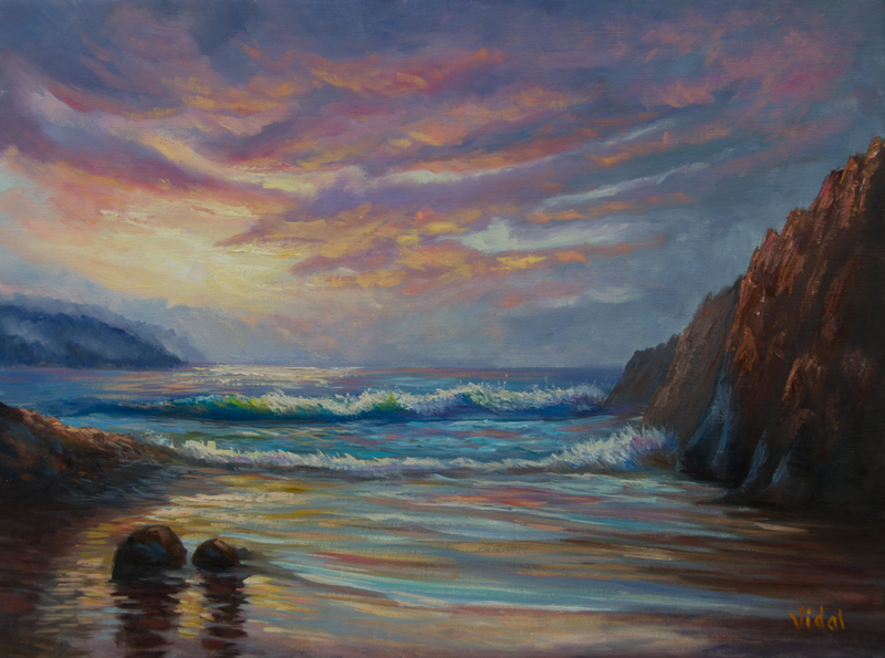 (CreativeWork) Oil on loose Belgian linen -  Snelling beach , Kangaroo Island by Christopher Vidal. oil-painting. Shop online at Bluethumb.