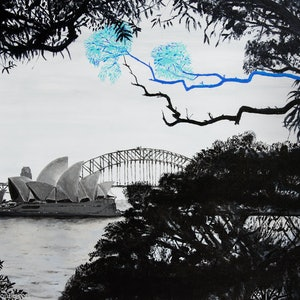 (CreativeWork) Sydney's Angophora Symphony by Rodney Black. arcylic-painting. Shop online at Bluethumb.