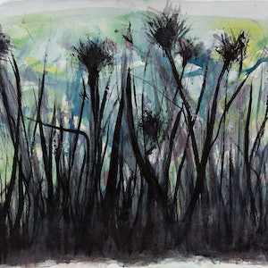 (CreativeWork) Gliding through the Undergrowth by Jill Robb. mixed-media. Shop online at Bluethumb.