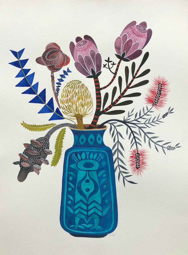 (CreativeWork) Autumn Natives in West German Peacock Vase by Sally Browne. watercolour. Shop online at Bluethumb.