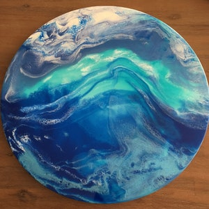 (CreativeWork) Undercurrent 60cm Resin Painting SOLD by Di Parsons. resin. Shop online at Bluethumb.