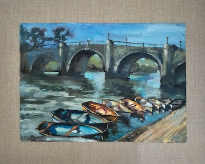 (CreativeWork) Richmond Bridge by Ekaterina Strounina. oil-painting. Shop online at Bluethumb.