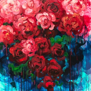 (CreativeWork) Queen Of Hearts by Lily Nova. acrylic-painting. Shop online at Bluethumb.