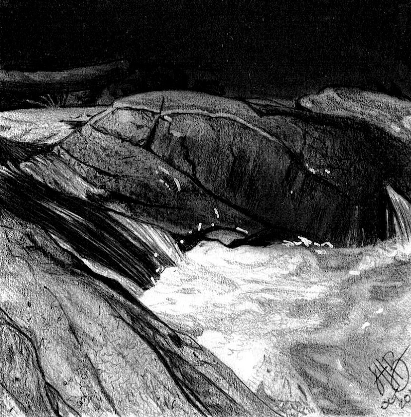 (CreativeWork) Rockpool (Halls Falls Tasmania) by Jasmine Hearps-Rooney. drawing. Shop online at Bluethumb.