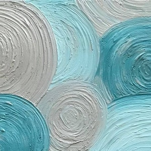 "(CreativeWork) ORIGINAL ABSTRACT ART PAINTING ON STRETCHED CANVAS ""RETRO"" TEXTURED METALLIC TEAL SILVER  WHITE  -116 by Debra Ryan. mixed-media. Shop online at Bluethumb."