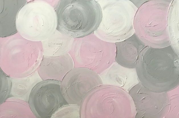 "(CreativeWork) ORIGINAL ABSTRACT ART PAINTING ON STRETCHED CANVAS ""MARSHMALLOW"" TEXTURED PASTEL PINK GREY GRAY  WHITE  -117 by Debra Ryan. Mixed Media. Shop online at Bluethumb."