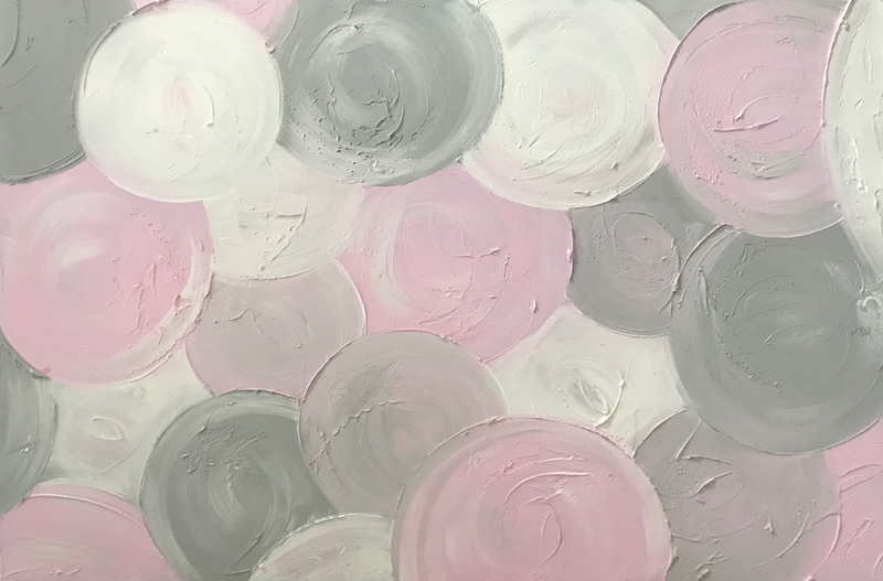 """(CreativeWork) ORIGINAL ABSTRACT ART PAINTING ON STRETCHED CANVAS """"MARSHMALLOW"""" TEXTURED PASTEL PINK GREY GRAY  WHITE  -117 by Debra Ryan. mixed-media. Shop online at Bluethumb."""