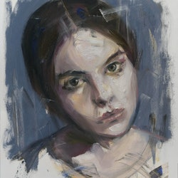 (CreativeWork) Study of a girl by Loribelle Spirovski. oil-painting. Shop online at Bluethumb.