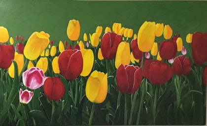 (CreativeWork) Spring Tulips by Maria Reynolds. arcylic-painting. Shop online at Bluethumb.