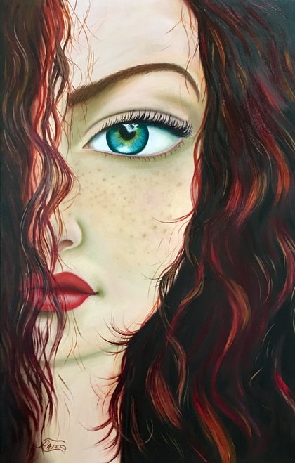(CreativeWork) Meryda by atefeh hekmat. oil-painting. Shop online at Bluethumb.