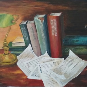 (CreativeWork) Philip Sparrow on the Old Masters by Sandy Barbara. arcylic-painting. Shop online at Bluethumb.