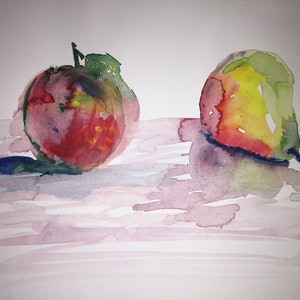 (CreativeWork) Apple and Pear ( study 1.) by Phil Herbison. watercolour. Shop online at Bluethumb.