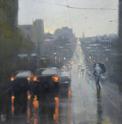 (CreativeWork) Burke Road Rain - Melbourne - rainy cityscape by Mike Barr by Mike Barr. Oil Paint. Shop online at Bluethumb.