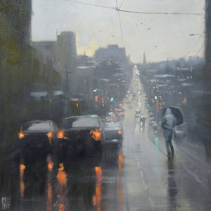 (CreativeWork) Burke Road Rain - Melbourne by Mike Barr. oil-painting. Shop online at Bluethumb.