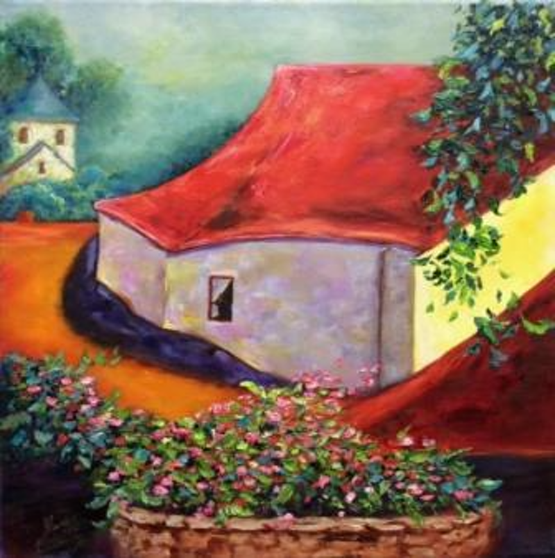 (CreativeWork) Rooftop Cafe at St Cirq Lapopie, French, Red Rooftops, oil on canvas by Sharon DeSailly. Oil Paint. Shop online at Bluethumb.