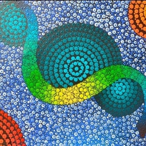 (CreativeWork) (Commissions only on this piece)Rainbow Serpent  by Rebecca Reid. acrylic-painting. Shop online at Bluethumb.