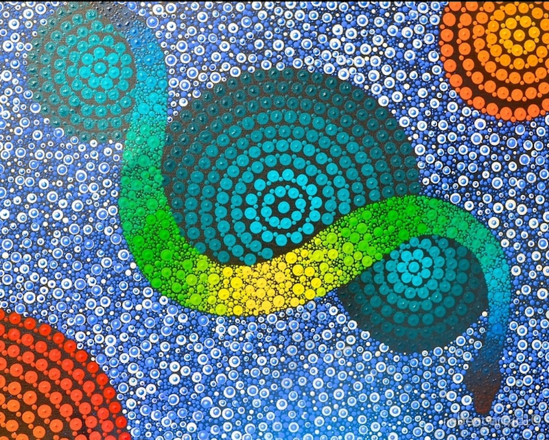 (CreativeWork) (Commissions only on this piece)Rainbow Serpent  by Rebecca Reid. arcylic-painting. Shop online at Bluethumb.