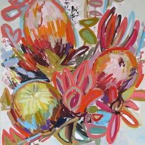 (CreativeWork) COLOURFUL BUNCH by Karen McPhee. arcylic-painting. Shop online at Bluethumb.