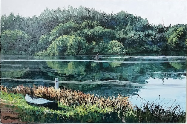 (CreativeWork) LONE KAYAKER by Margaret HADFIELD. Acrylic Paint. Shop online at Bluethumb.