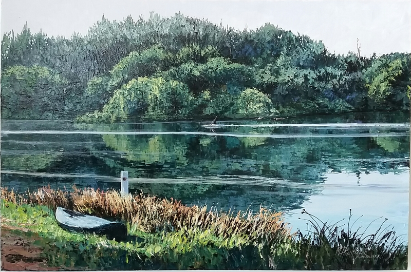 (CreativeWork) LONE KAYAKER by Margaret HADFIELD. arcylic-painting. Shop online at Bluethumb.