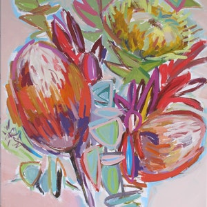(CreativeWork) PROTEAS ON PINK by Karen McPhee. arcylic-painting. Shop online at Bluethumb.