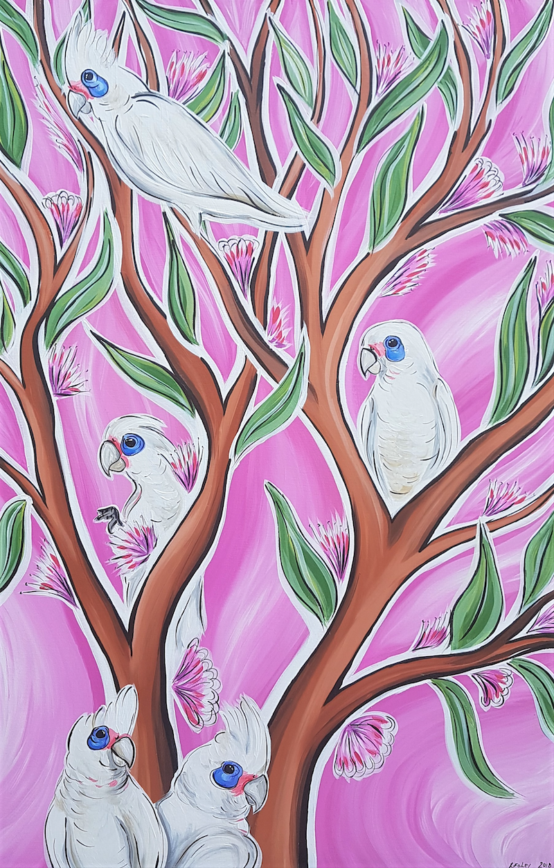 (CreativeWork) Corella's in the Trees by Lisa Fahey. arcylic-painting. Shop online at Bluethumb.