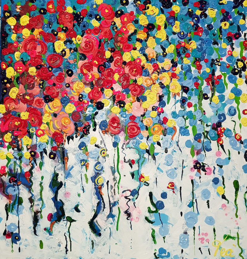 (CreativeWork) Festival of tall Poppies by Tea Ercoles. arcylic-painting. Shop online at Bluethumb.