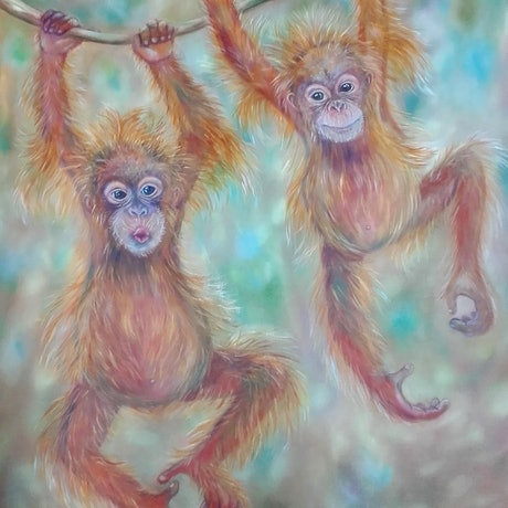 (CreativeWork) Orangutan -Mischief Makers by Joanne Scriha. Oil Paint. Shop online at Bluethumb.