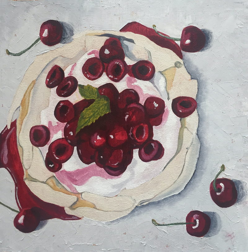 (CreativeWork) Cherry Pavlova by Sandra Jenkins. oil-painting. Shop online at Bluethumb.