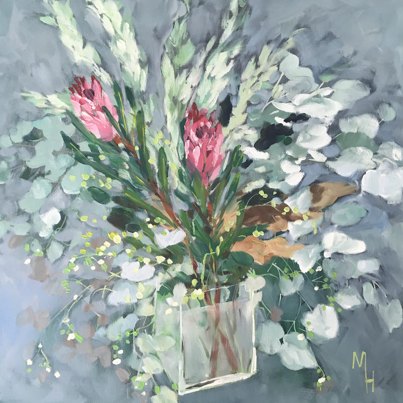 (CreativeWork)  Proteas and Eucalyptus by Meredith Howse. oil-painting. Shop online at Bluethumb.
