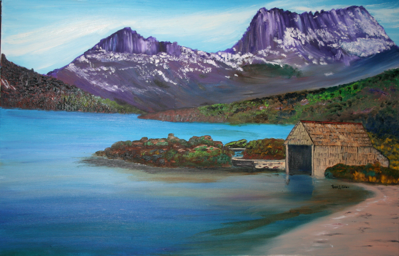 (CreativeWork) DOVE LAKE AND CRADLE MOUNTAIN by Ralph Coles. oil-painting. Shop online at Bluethumb.