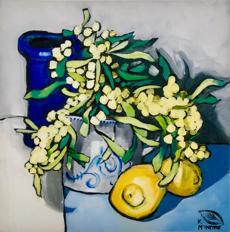 (CreativeWork) Wattle, lemons and blue vase Giclee print  Ed. 2 of 20 by kirsty mcintyre. print. Shop online at Bluethumb.