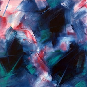 """(CreativeWork) """"Flashes In Pink And Green"""" by David Clare. oil-painting. Shop online at Bluethumb."""