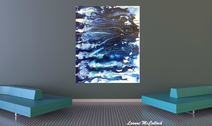 (CreativeWork) Indigo - The First Wave  by Leanne McCulloch. Acrylic Paint. Shop online at Bluethumb.
