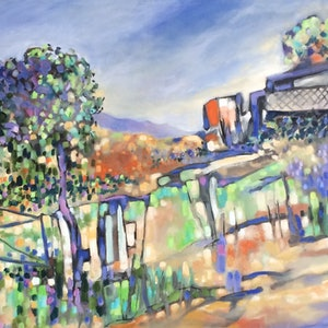 (CreativeWork) The old Sofala farm house by sue bannister. oil-painting. Shop online at Bluethumb.