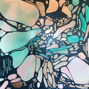 (CreativeWork) Rock Wall by Rachael Higby. arcylic-painting. Shop online at Bluethumb.