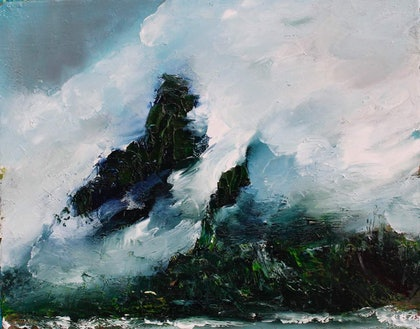 (CreativeWork) Mysterious Mountain by Georgina Richmond. oil-painting. Shop online at Bluethumb.
