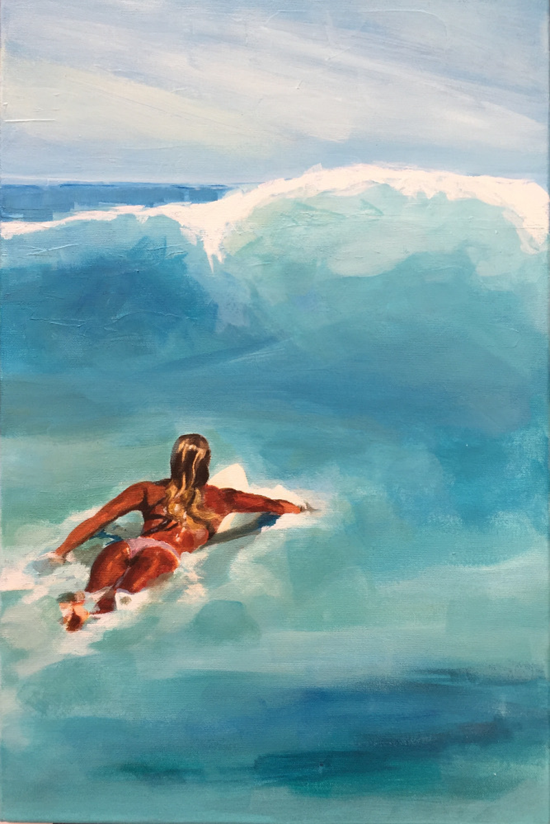 (CreativeWork) Surfer Blue Water by TeMoana .. arcylic-painting. Shop online at Bluethumb.