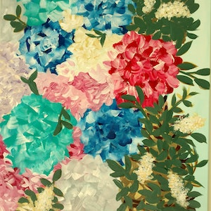 (CreativeWork) Bush with Blossoms by Becky Thornton. arcylic-painting. Shop online at Bluethumb.