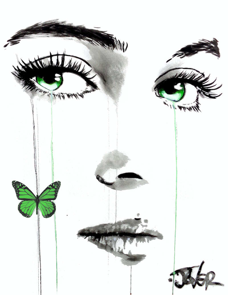 (CreativeWork) BUTTERFLY GREEN by loui jover. drawing. Shop online at Bluethumb.