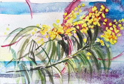 (CreativeWork) Wattle  by Sarah Poyser. watercolour. Shop online at Bluethumb.