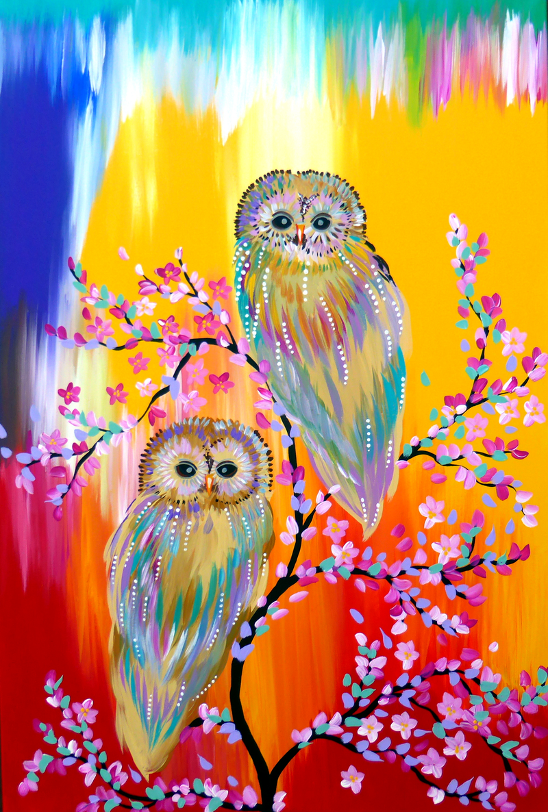 (CreativeWork) Rainbow Owls by Cathy Jacobs. arcylic-painting. Shop online at Bluethumb.
